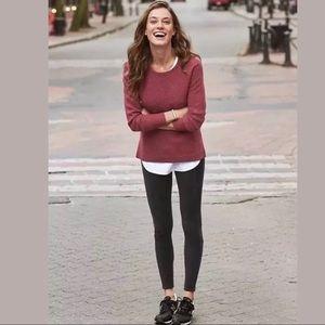 Athleta Thermal Honeycomb Sweater Red Brick Small